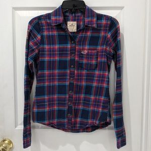 Hollister Navy Plaid Button Down Flannel